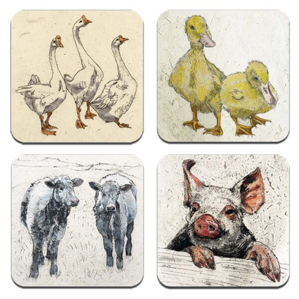 Annabel Langrish farmyard coaster set