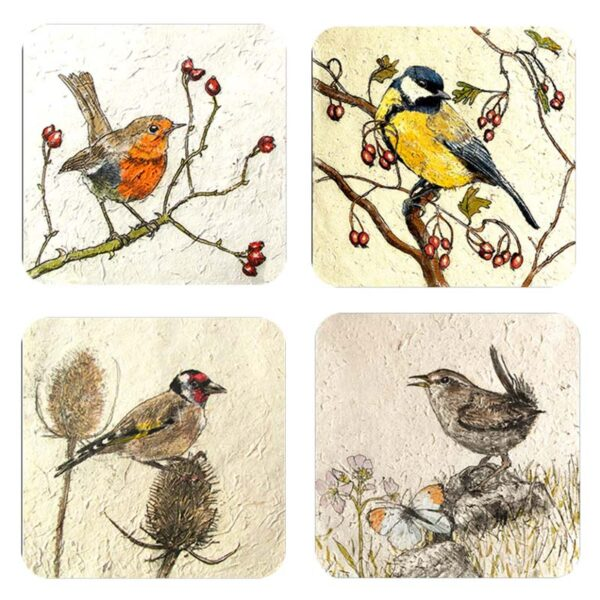 Annabel Langrish garden birds coaster set