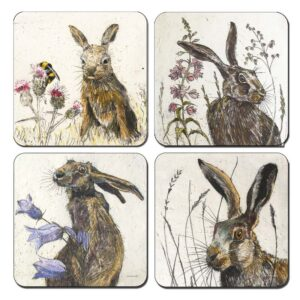 Annabel Langrish hare coaster set