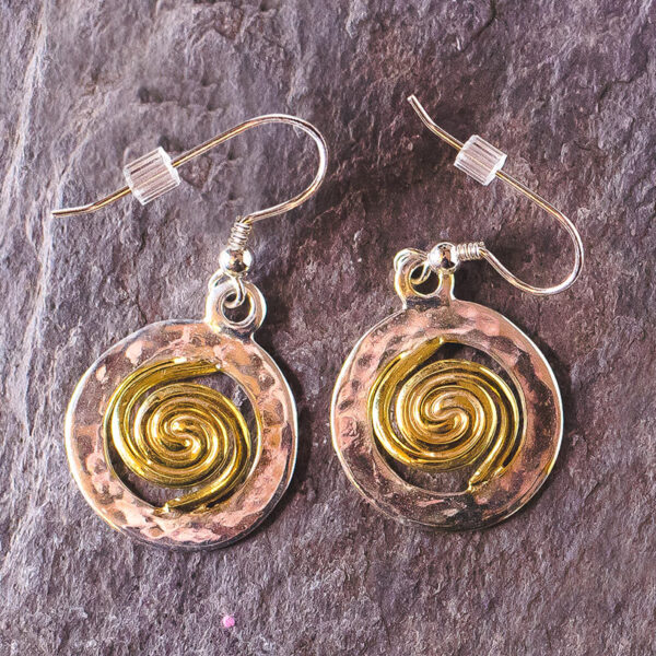 Spiral of Life Earrings Silver Gold Vermeil large