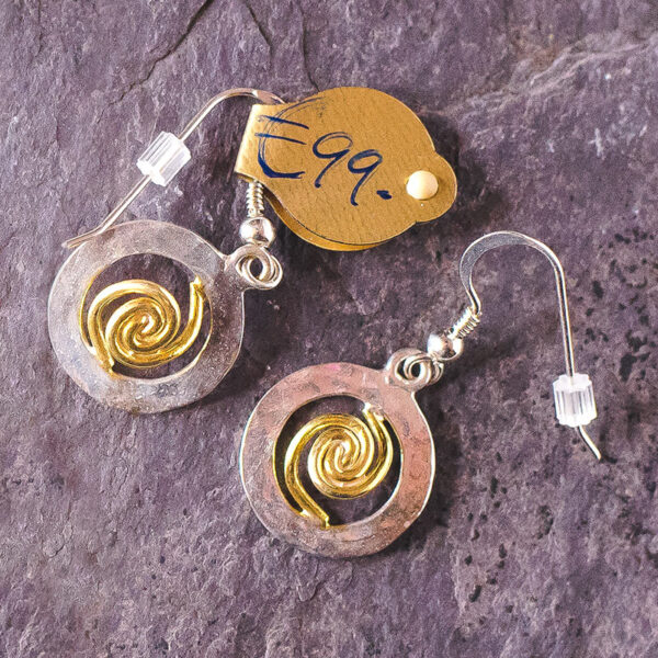 Spiral of Life Earrings Silver Gold Vermeil small