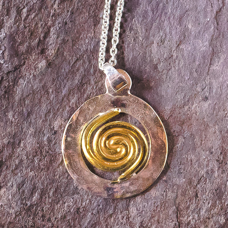 Spiral of Life Pendant Silver Gold Vermeil large