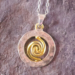 Spiral of Life Pendant – Silver & Gold Vermeil – Small