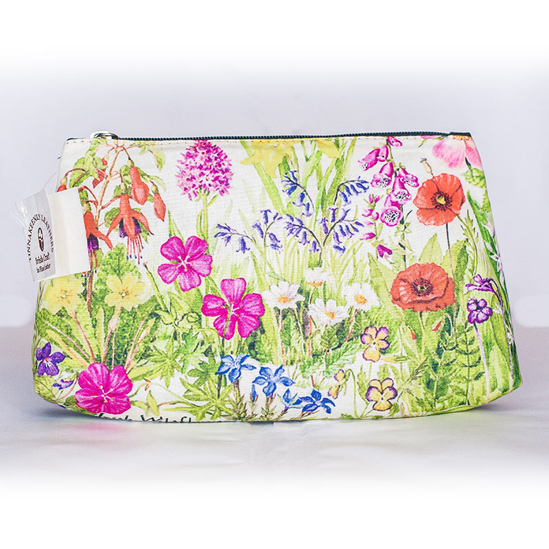Tinnakeenly Leathers Cosmetic Bag with wild flowers