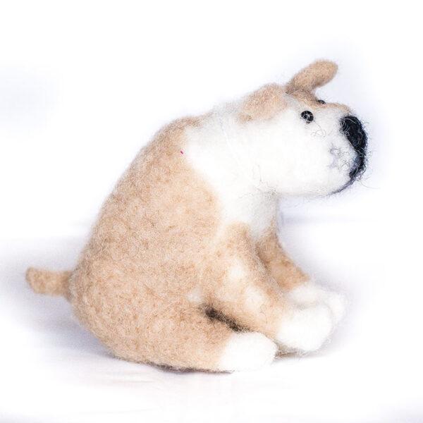 Wool Felted Cream Dog